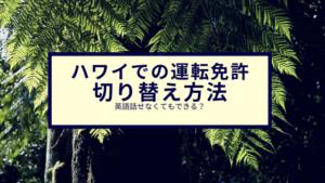 ハワイでの運転免許 切り替え方法